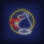 Rat and cup in circle neon sign