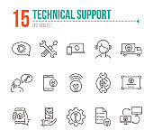 Technical support line icon set