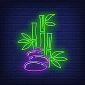 Bamboo and stones neon sign