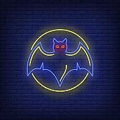 Bat in circle neon sign