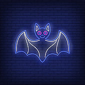Cute bat with spread wings neon sign