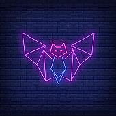 Geometric bat neon sign