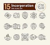 Incorporation line icon set