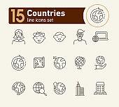 Countries line icon set