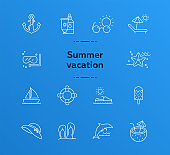 Summer vacation line icon set