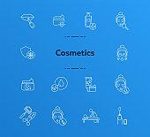 Cosmetics line icon set
