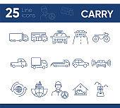 Carry line icon set