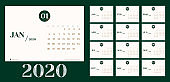 Vector 2020 new year calendar planner template in minimal table simple style with marble month texture number,Holiday event planner,Week Starts Sunday.layout annual calender.timetable for diary