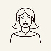 Middle-aged woman line icon