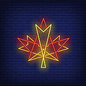 Geometric maple leaf neon sign