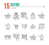 Buying line icon set