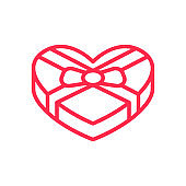 Gift box heart icon. Love, Valentines Day.
