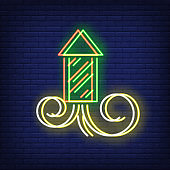 Firework rocket neon sign with chromatic aberration effect