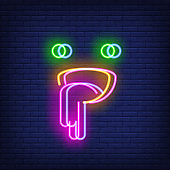 Emoticon putting out tongue neon sign with chromatic aberration