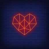 Polygonal geometric heart neon sign