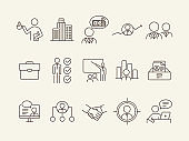 Recruiting line icon set