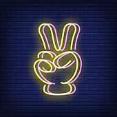 Victory sign gesture neon sign with chromatic aberration effect