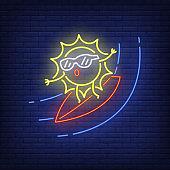 Cartoon sun on surfboard neon sign
