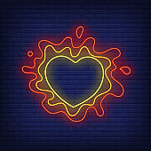Abstract heart shaped frame and paint splashes neon sign