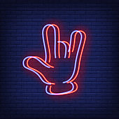 Devil horns gesture neon sign with chromatic aberration effect
