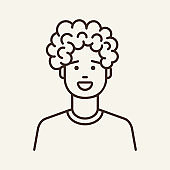 Curly-haired guy line icon