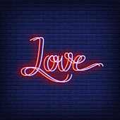 Love neon lettering with chromatic aberration effect