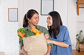 Happy asian couple lesbian holding vegetable bag after shopping at grocery store at home.LGBTQ lifestyle concept.