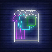 Garment on clothes rack neon sign