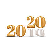 2019 change to 2020 new year golden number (3d rendering) on white studio room background,Holiday celebration card