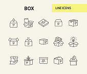 Box line icon set