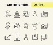 Architecture line icon set