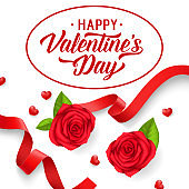 Happy Valentines Day lettering with red ribbons and roses