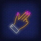 Gun gesture neon sign