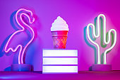 Neon light vacation background