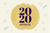 Happy new year 2020 word on gold circle glitter on cream modern geometric shape patternbackground,minimal Holiday greeting card..