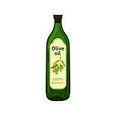 Olive oil bottle with brand label. Isolated flat vector element for advertising placard or banner. Vector illustration on white isolated background