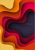Autumn text greeting 3d paper art illustration. Text with stamping. Bright colorful halftone gradients. Design layout for banners presentations, flyers, posters and invitations. Vector illustration