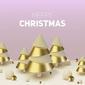 Metallic gold 3D Christmas tree. Realistic abstract background with 3d. Greeting card, invitation with happy New year 2020 and Xmas. Vector Illustration