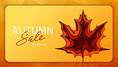 Origami autumn for concept design. Fall background design. Banner background. Vector illustration paper art. Bright fall leaves.