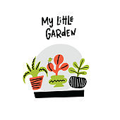 My little garden. Cute hand drawn illustration of plants in the pots. Doodle style. Vector