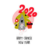 Funny vector illustration of rat with christmas tree and gift box. 2020 year symbol. Quote Happy Chinese New Year