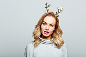 Christmas portrait of cute beautiful woman, close up of face stock photo