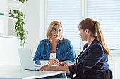 Mature businesswomen talking while sitting at desk