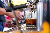 Professional espresso coffee machine with bottom filter make espresso coffee in cafe shop