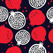 Pomegranate. Vector seamless pattern. Hand drawn elements. Textile, wallpaper design.