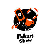 Funny flat vector illustration of smartphoe, earphones, headphones and coffee. Design concept for podcast show.