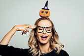 Excited woman ready for halloween, stock photo