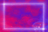 Gowing neon frame onabstract bokeh purple background, copy-space