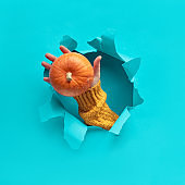Blue mint paper flat lay with ripped hole, hand with pumpkin in the hole