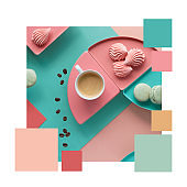Color matching palette from coffee with marshmallow on paper in mint, peach and pink colors